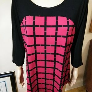 PerSeption red and black tunic NWOT